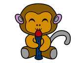 Coloring page Flautist monkey painted byNate
