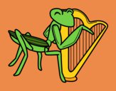 Coloring page Grasshopper with harp painted byShelbyGee