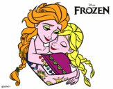 Coloring page Frozen Elsa and Anna painted byredhairkid