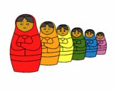 Coloring page Matryoshka doll painted byredhairkid