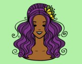 Coloring page Hairstyle with flower painted byTheColor