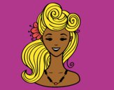 Coloring page Pin-up hairstyle  painted byTheColor