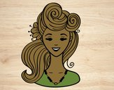 Coloring page Pin-up hairstyle  painted byleslie