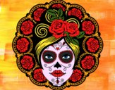 Coloring page Mexican skull female painted byCharlotte