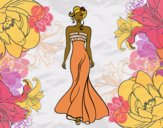 Coloring page Elegant Wedding dress  painted byCharlotte