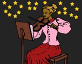 Coloring page Female violinist painted byCharlotte