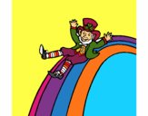 Coloring page Leprechaun on a rainbow painted bymindella