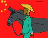 Coloring page Chinese peasant painted byCharlotte
