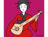 Coloring page Geisha playing the lute painted byJennifer