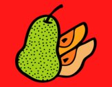 Coloring page Pear cut painted bymindella