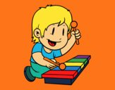 Coloring page Children with xylophone painted bymindella