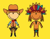 Coloring page Happy cowboy and Indian painted bymindella
