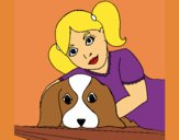 Coloring page Little girl hugging her dog painted byKArenLee