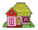 Coloring page Cottage of the village painted bysahana