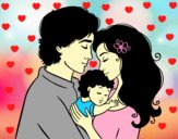 Coloring page Hug family painted byAnia