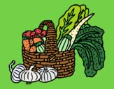 Coloring page Basket of vegetables painted byJijicream