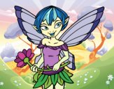 Coloring page Fairy with daisy  painted byJijicream