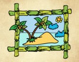 Coloring page Frame with palm trees painted byJijicream
