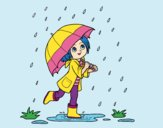 Coloring page Girl with umbrella in the rain painted byJijicream