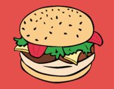 Coloring page Hamburger with everything painted byJijicream
