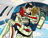 Coloring page Astronauts in love painted byCharlotte