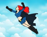 Coloring page Super girl flying painted byGhada
