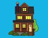 Coloring page Two-story house with attic painted bypinkrose