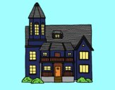 Coloring page Two-story house with tower painted bypinkrose