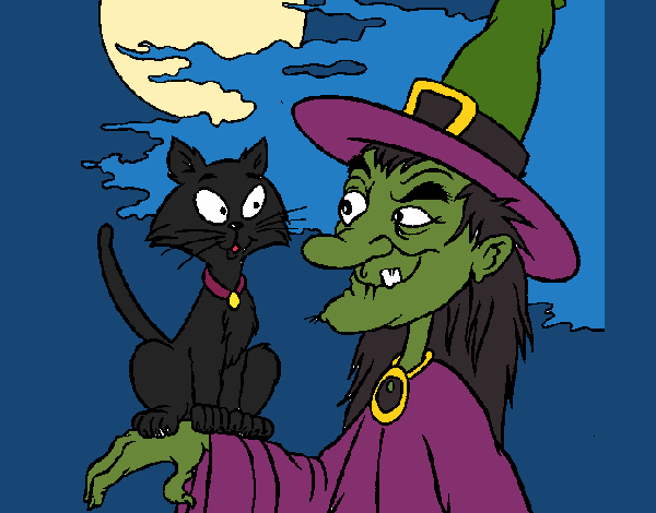 Witch and cat