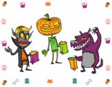 Coloring page Monsters Trick-or-treating painted byjojo1pa