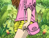Coloring page Girl with handbag painted byAnia