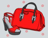 Coloring page Handbag and shoe painted byAnia