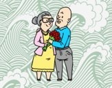 Coloring page Grandparents in love painted byAnia