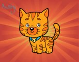 Coloring page A domestic cat painted byKitty