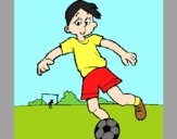 Coloring page Playing football painted byAnia