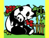 Coloring page Panda mother painted byAnia