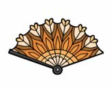 Coloring page Heart hand fan painted byfawnamama1