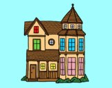 Coloring page Classical manor house painted byAnia