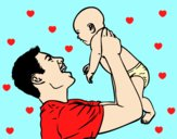 Coloring page Father and baby painted byAnia