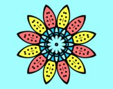 Coloring page Flower mandala with petals painted byAnia