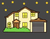 Coloring page Detached house painted bylorna