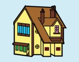 Coloring page Single-family house painted bylorna