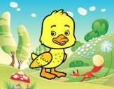 Coloring page A duckling painted bylorna