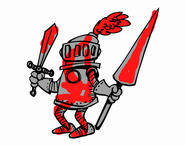 Knight with sword and spear