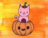 Coloring page A Halloween kitten painted bySamantha