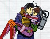 Coloring page Astronauts in love painted byPiaaa