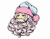 Coloring page Face of Santa Claus for Christmas painted byJingle