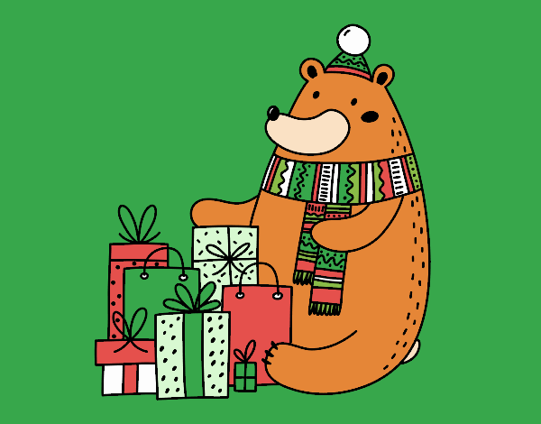 Bear with Christmas gifts