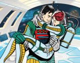 Coloring page Astronauts in love painted byBlazefuryx