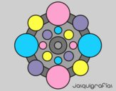 Coloring page Mandala with round painted bylorna